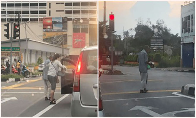 Kind Lady Quickly Gets Out Of Car While Waiting At Traffic Light To Offer Food To Elderly Man