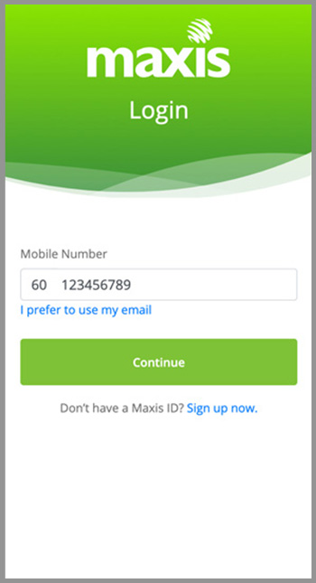 Step 1 - Login to Maxis Self Serve
